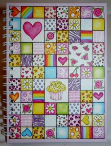 Colourful Cupcake Patchwork  Hard Back Notebook Available in A5 or A6